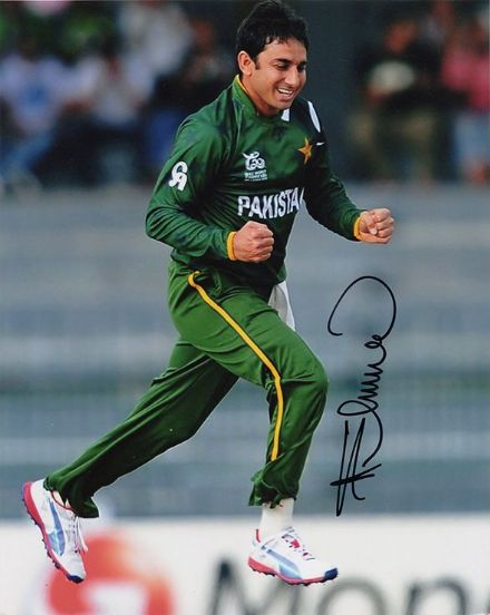 Saeed Ajmal, Pakistan, signed 10x8 inch photo. (2)